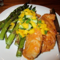 Peanut-Ginger Chicken with Mango Salsa