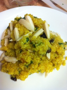 Turmeric Quinoa with Apricots and Almonds