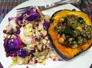 Stuffed Squash and Roasted Cabbage