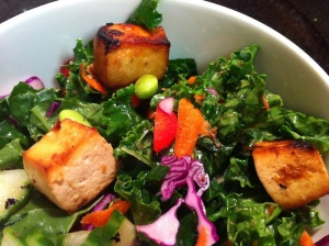 Raw Kale and Tofu Salad with Citrus Dressing