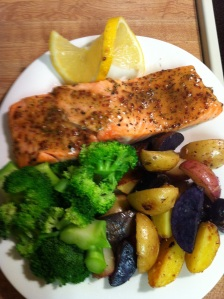 Maple-Mustard Glazed Salmon meal