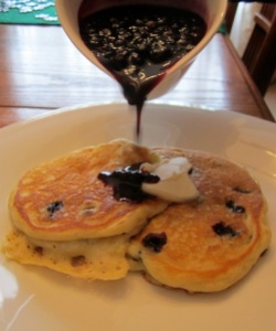 Blueberry Pancakes with Blueberry Sauce