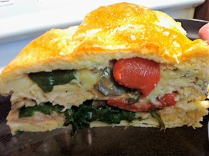 Smoked Turkey and Cheese Brunch Torte slice (A Seat at the Table)
