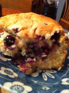 Blueberry Buttermilk Breakfast Cake slice (A Seat at the Table)
