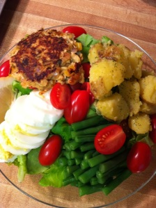 Salmon Cake Salad Nicoise (A Seat at the Table)