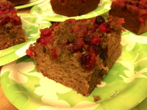 Cranberry Upside Down Pumpkin Cake slice (A Seat at the Table)
