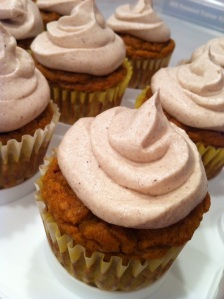Pumpkin Pie Cupcakes with Cream Cheese Frosting (A Seat at the Table)